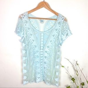 Sundance Light Blue Sheer Lace Short Sleeve Blouse